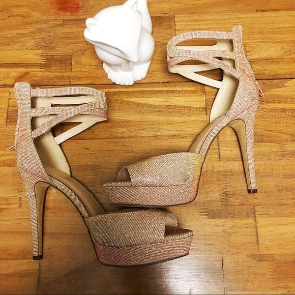 Sparkle Oro Nine Strap Ankle West Heel Rose Zapatos xtvqIva
